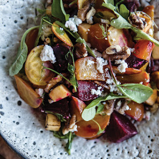 Roasted Beet and Squash Salad with Arugula, Goat Cheese and Candied Pecans.