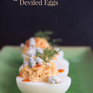 Buffalo Blue Cheese Deviled Eggs.