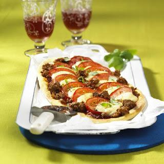 Tomato, Mozzarella and Beef Pizza