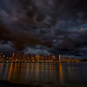 Waikiki at Night by Brent Sharp - City,  Street & Park  Night ( clouds, night, long exposure, cityscape, hawaii, city, waikiki,  )