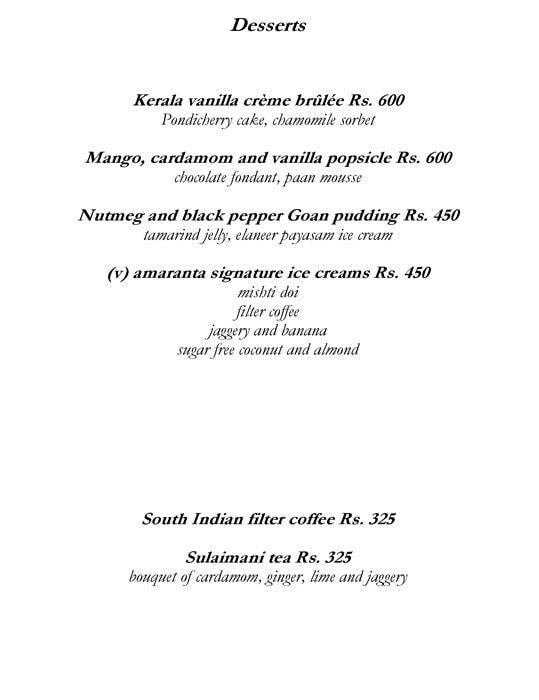Amaranta, The Oberoi menu 6
