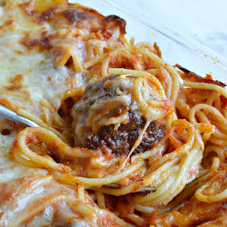 Baked Spaghetti and Meatballs.