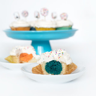 Colorful Stuffed Vanilla Cupcakes