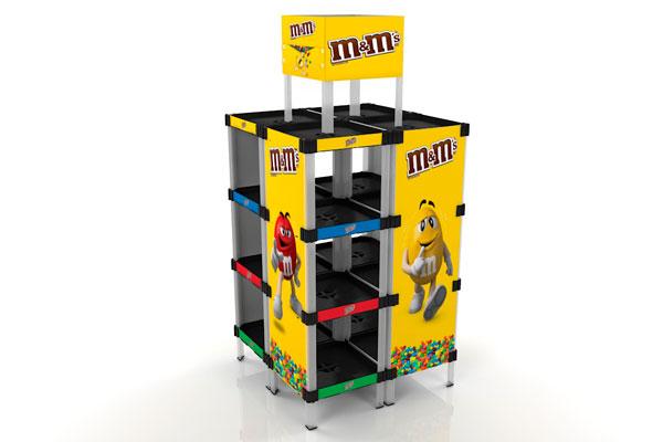 exhibidor modular plástico con bandejas y gráfica payloader PL17