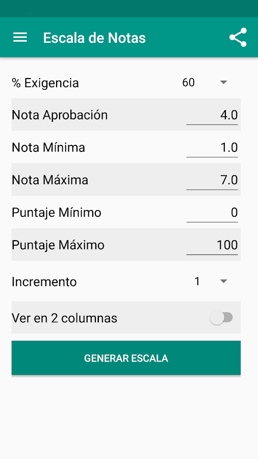 Escala de Notas- screenshot