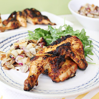 Brick Cornish Hens with Grilled Potato Salad.