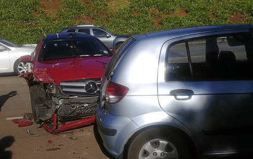 Lindiwe Nkuna's  Mercedes Benz C180  was crashed  while in the care of  Executive Carport,  airport-based  parking service provider. /Supplied