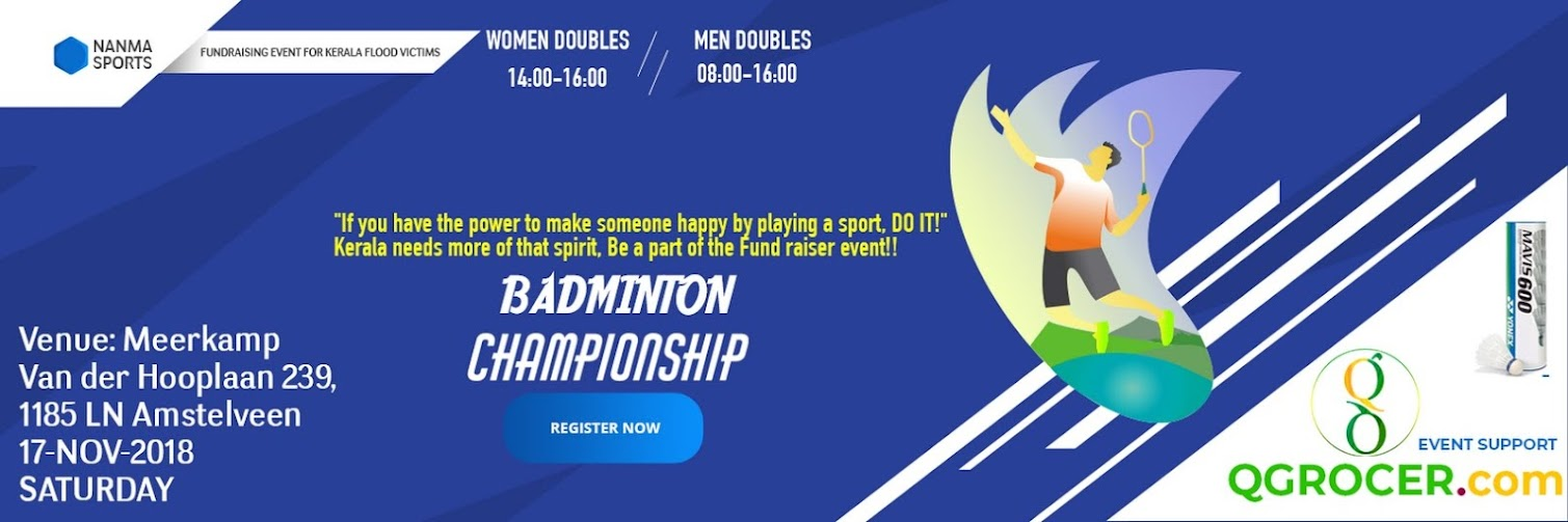BADMINTON TOURNAMENT- A FUNDRAISER EVENT TO SUPPORT KERALA FLOOD VICTIMS