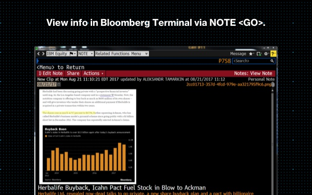 Bloomberg Terminal: Clip to NOTE - Chrome Web Store