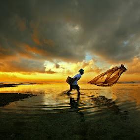 The Fisherman Net by Alit  Apriyana - People Fine Art ( bali, warm, sunrise, net, fisherman )