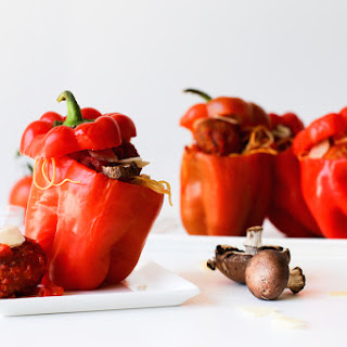 Spaghetti and Meatball Stuffed Bell Peppers