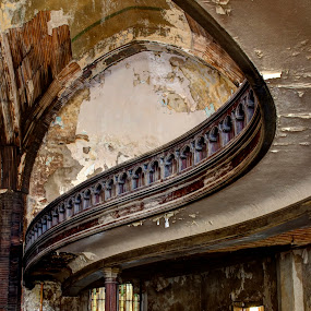 Graceful Balcony by Pat Eisenberger - Buildings & Architecture Other Interior ( urban, church, pews, balcony, decay, abandoned, building )