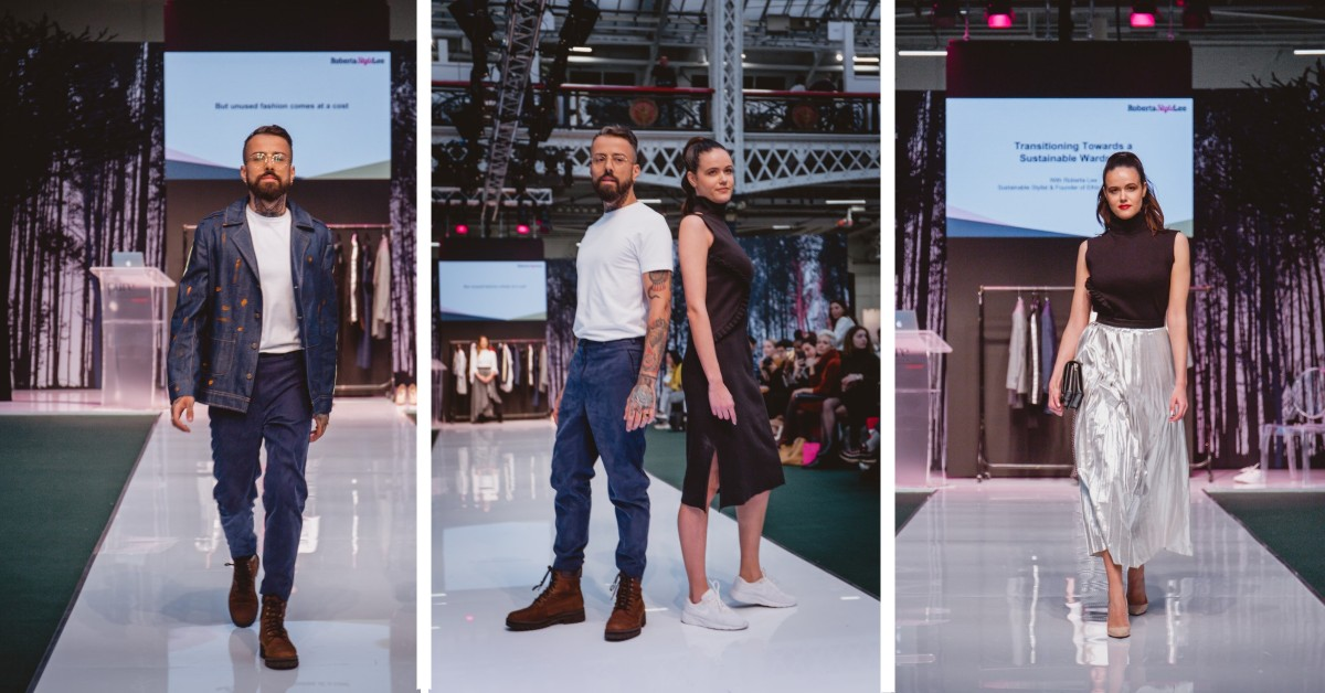 SEO Alt text: Models Dan Pontarlier and Amanda Sarco Styled By Roberta Lee, Pure London Runway Feb 2020 | Conscious Fashion Brands