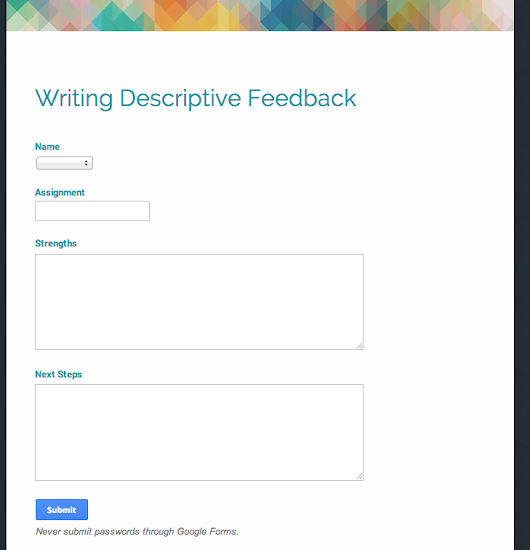 Organizing Descriptive Feedback with Google Forms