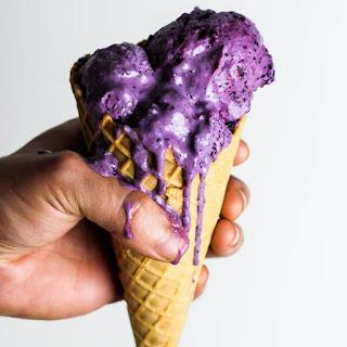 Blueberry Vegan Frozen Yogurt.