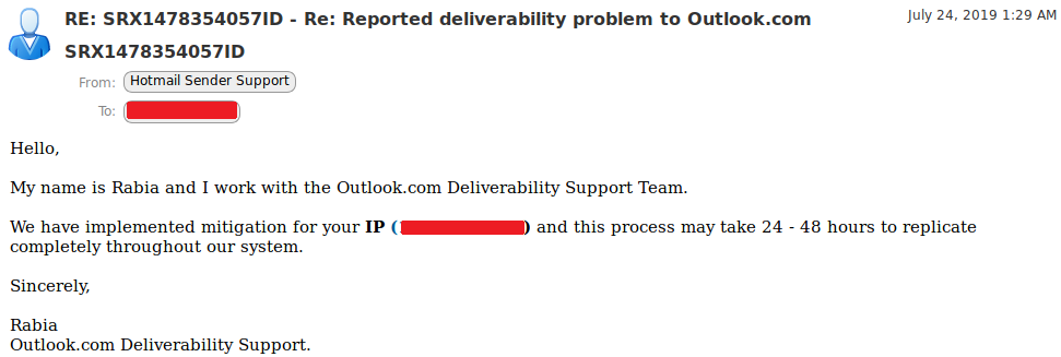 Report deliverability problem to outlook.com