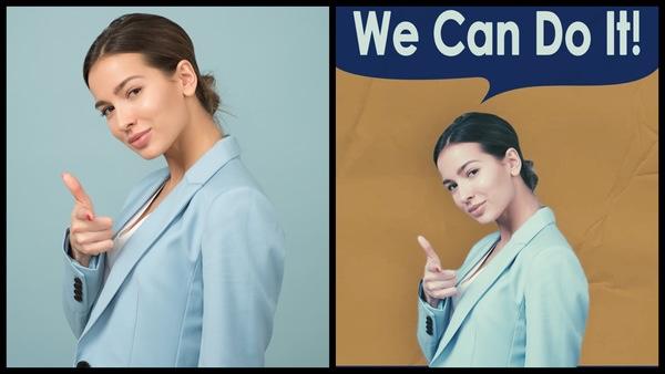 """antes e depois de uma foto de mulher morena sendo que uma foto tem o fundo """"We can do it"""""""