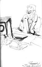 Photo: 開處方2011.06.20鋼筆 醫師問完診後,正專注地開處方。