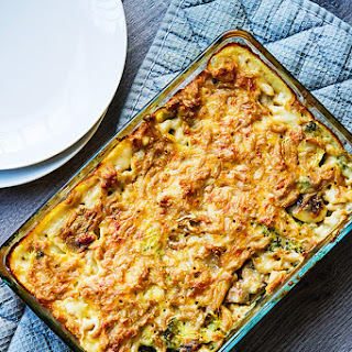Oven baked Mac and Cheese with broccoli and mushrooms.