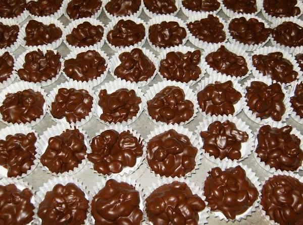 Chocolate Peanut Clusters, Ready To Be Boxed For Christmas Gifts.