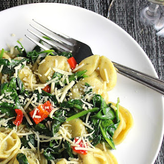 Quick Tortellini with Spinach and Garlic