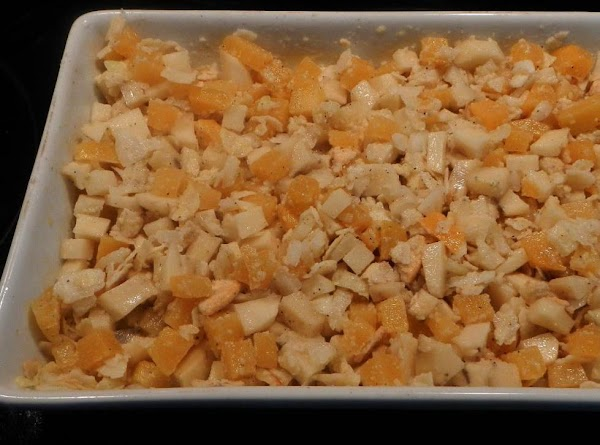 Put all in baking dish. Sprinkle with 1/2 crushed potato chips. Put in oven, uncovered and...