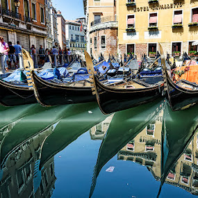 Gondola Parking by Björn Olsson - City,  Street & Park  Historic Districts ( water, gondola, venice, travel, italy )