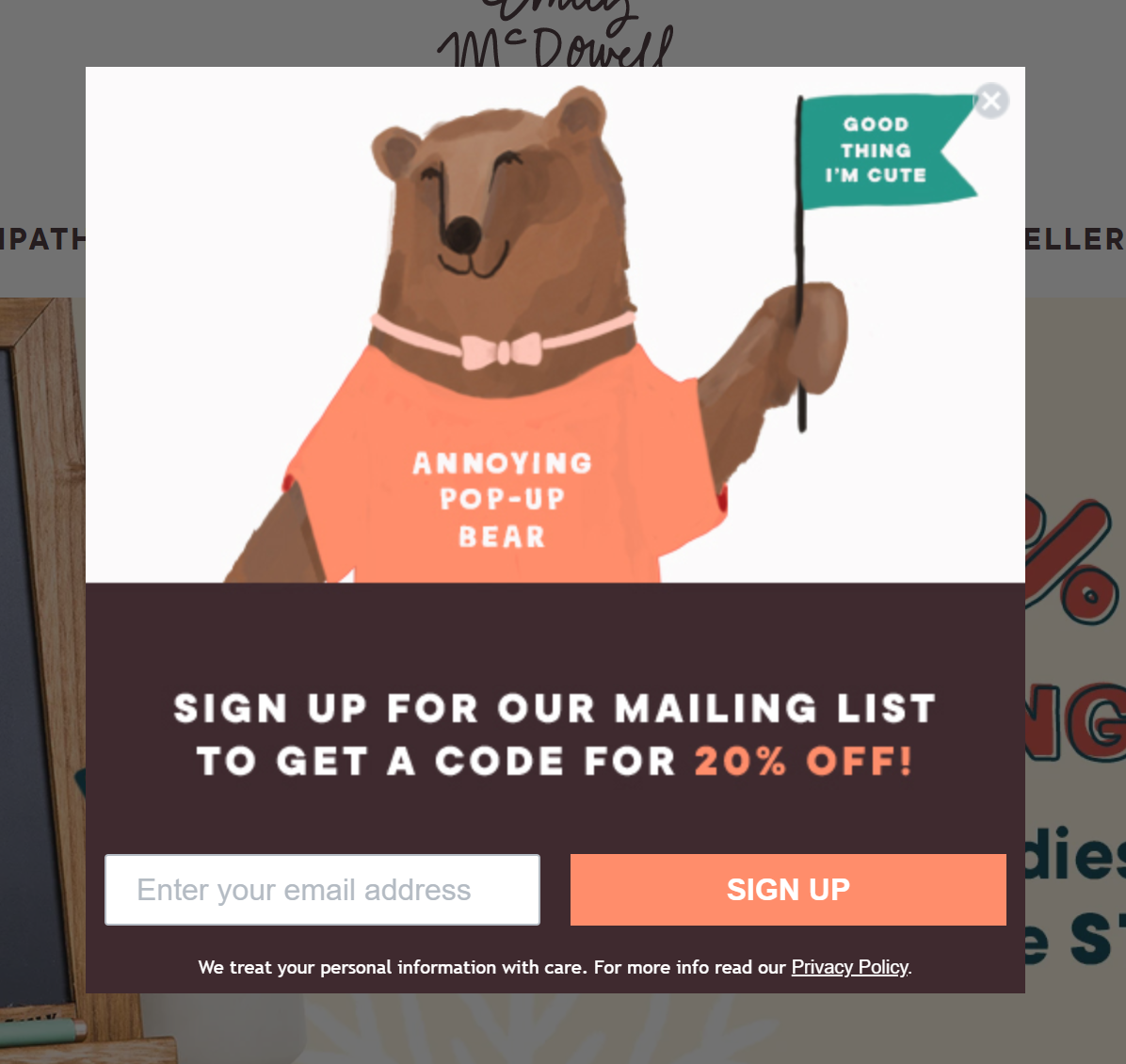 Email pop-up design