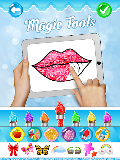 Glitter Lips with Makeup Brush Set coloring Game screenshot 8