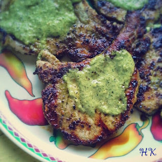Cilantro-Serrano Marinated Pork Chops