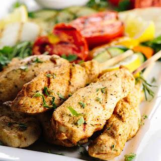 Greek Style Chicken Skewers and Hummus