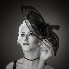 Racheal  by Karen Shivas - People Portraits of Women ( face, woman, white, black, hat )