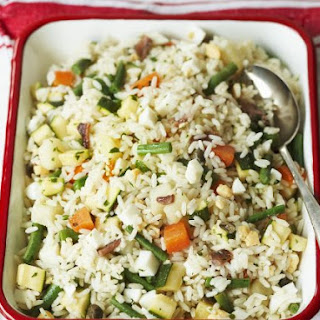 Dish of Vegetable Rice and Tofu
