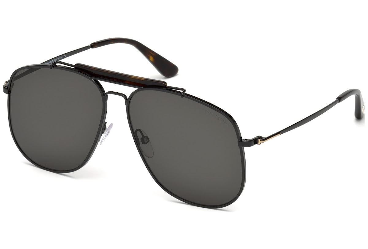 8fb0820605 Sunglasses Tom Ford Connor-02 FT0557 C58 01A (shiny black   smoke)
