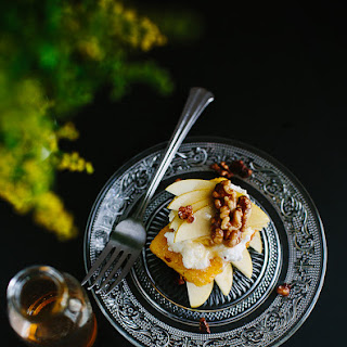 Polenta Cakes With Apple And Nuts.