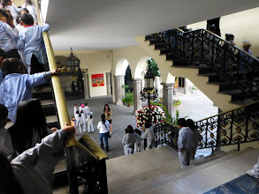 Photo: We climb the stairs to the upper level while the previous group descends