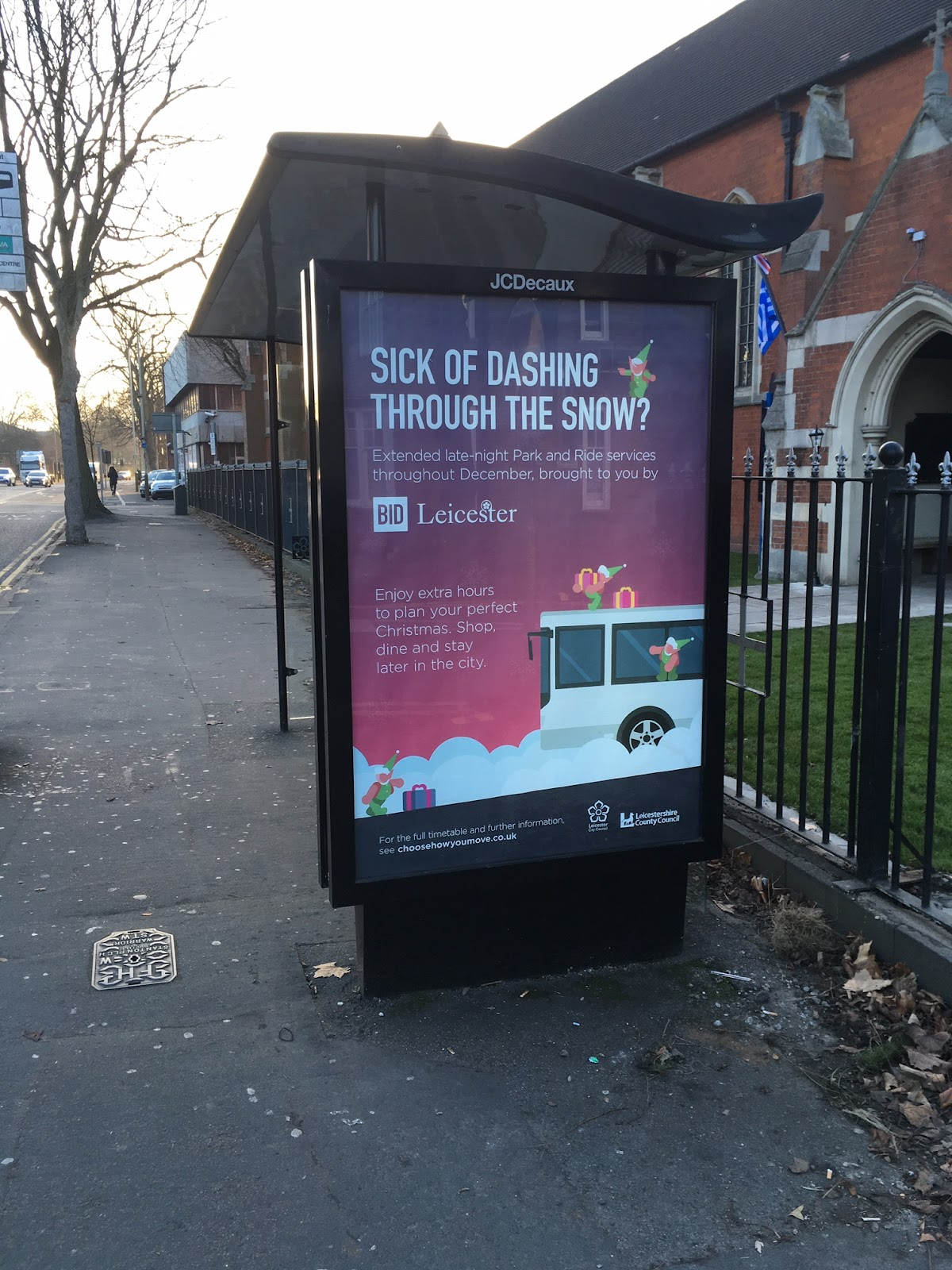 BID Leicester used Bubble's unique planning services to pick and choose the best positions for their campaign, like this 6 sheet on a bus stop.