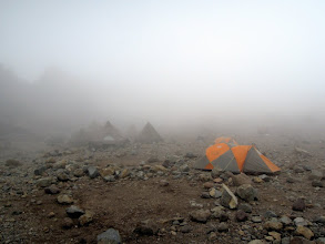 Photo: Arrow Glacier Camp - fog again...