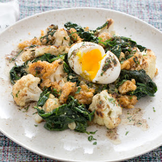 Roasted Cauliflower Meuniere with Soft-Boiled Eggs & Crispy Parmesan Breadcrumbs