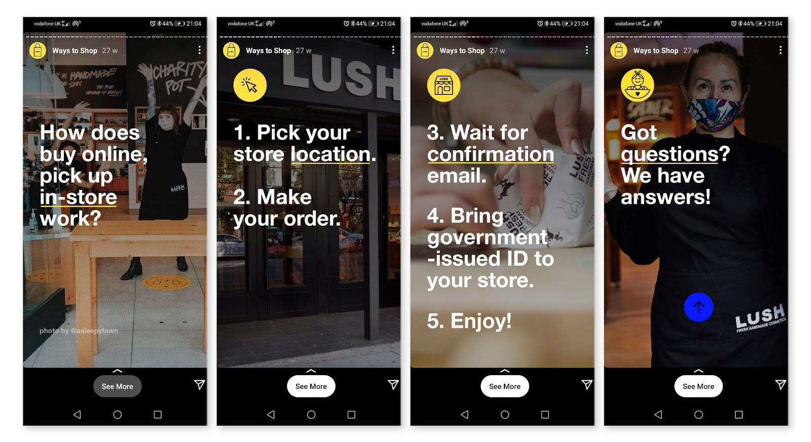 Lush Cosmetics Instagram stories to help their customers