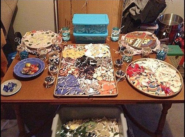 Pick out the broken pieces of pottery, glass or whatever you decide to use...