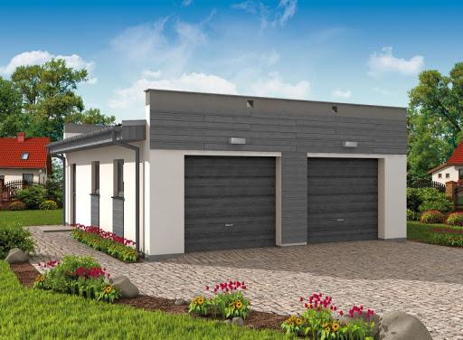 projekt G1a 2 szkielet drewniany, garaż dwustanowiskowy z pomieszczeniem gospodarczym