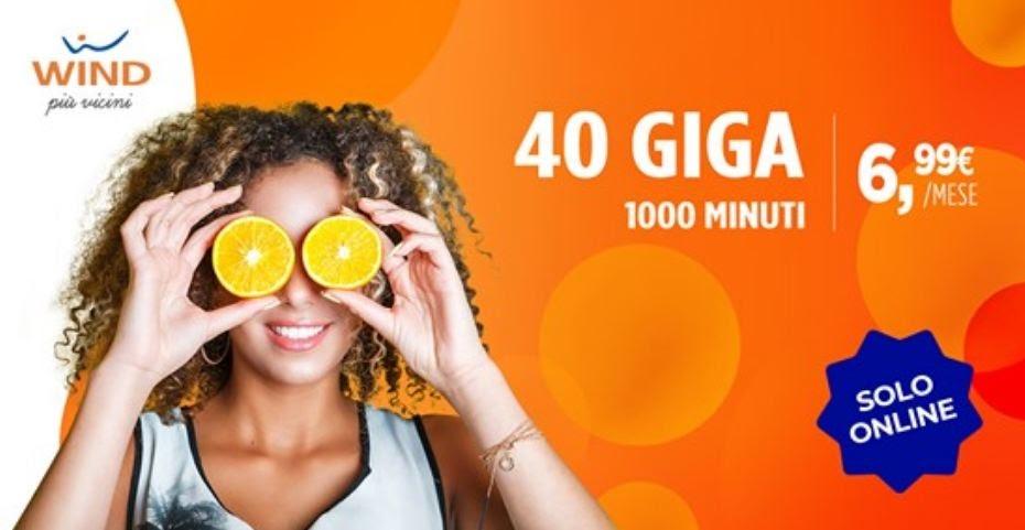 Wind 40 GIGA + 1000 minuti a 6,99€/mese, un offerta a tempo limitato!