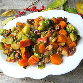 Roasted Brussels Sprouts w/ Squash, Apples & Candied Walnuts
