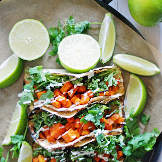 10 Ingredient Spicy Roasted Sweet Potato Tacos.