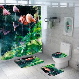 Set pentru baie: perdea, covorase si husa de toaleta, Flamingo