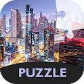 Puzzle with city at night icon