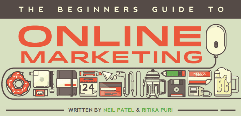 """A photo that shows """"the beginners guide to online marketing"""" headline by Neil Patel."""