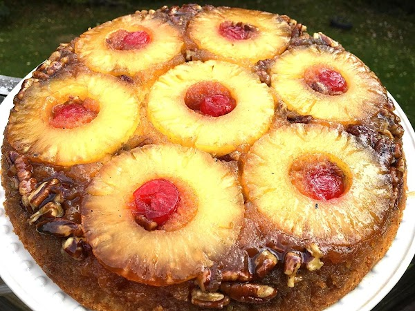 ~ Pineapple Pecan Upside Down Cake ~ Recipe