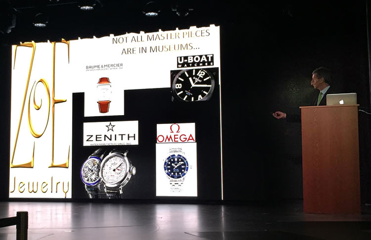 A port lecturer on Viking Star discusses some of the designer jewelry and watch brands available duty free.